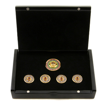 RMC Martin Ksohoh Precious Stone Blue Sapphire custom made button set in gift box RMC2369