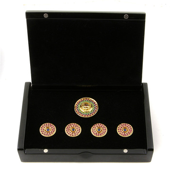 RMC Martin Ksohoh Precious Stone Ruby custom made button set in gift box RMC2340