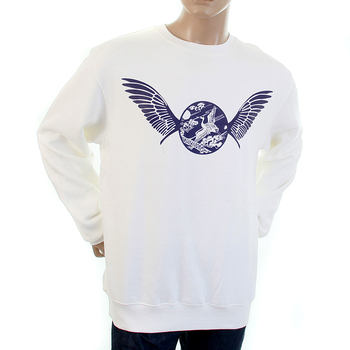 RMC Jeans RWC141262 Navy Freedom Crane Printed Mens Long Sleeved Crew Neck White Sweatshirt with Large Fitting REDM1029