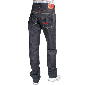 RMC X 4A Version Mens Indigo Raw Selvedge 1001 Like Black Monster Rider FM Union Embroidered Denim Jeans RMC1942