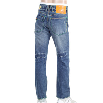 Yoropiko by Martin Yat Ming Stone Washed Vintage Cut Flap Pocket Selvedge Denim Jeans with Distressed Edges YORO9087