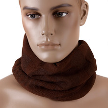 RMC Jeans Tsunami Wave Embroidered Reversible Brown Fleece Neck Warmer Snood REDM5501