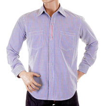 Yoropiko Regular Fit Soft Collar Long Sleeve Check Shirt in Blue YORO5301
