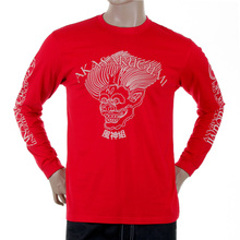 RMC Jeans Mens Red Fuijin Long Sleeve Crew Neck Regular Fit T-shirt with Akasarugumi Print REDM5412
