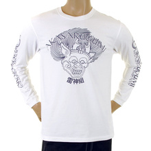 RMC Jeans Crew Neck Akasarugumi White Regular Fit Cotton Long Sleeve T-shirt with Raijin Print REDM5408