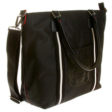 RMC Jeans Leather Base Unisex Nylon Shopper Bag in Black with Detachable Canvas Shoulder Strap REDM5530