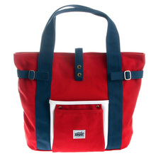 RMC MKWS Unisex Red Canvas Hand Carry Bag with Trim in Navy and White and Navy Handles REDM5582
