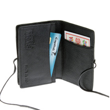 RMC Jeans Mens Italian Grain Leather Card Holder Wallet with Shoe Lace Tie in Black REDM5708