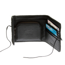 RMC Jeans Horse Hair Leather Wallet in Black with Shoe Lace Tie Closure for Men REDM5755