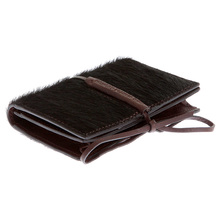 RMC Jeans Card Holder Brown Leather Horse Hair Wallet with Shoe Lace Tie Closure REDM5762