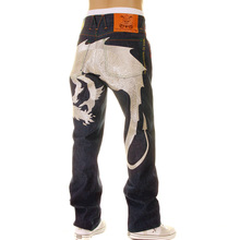 Yoropiko Limited Edition Hungry Dragon 574 Silver Raw Selvedge Denim Jeans YORO2879
