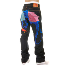 Yoropiko Limited Edition Raw Selvedge Denim Jeans with Hungry Dragon 574 Sky Blue Royal Blue Pink Embroidery YORO5419