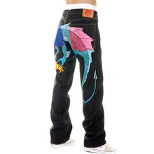 Yoropiko Vintage Cut Raw Selvedge Denim Jeans with Hungry Dragon 574 Royal Blue Sky Blue Pink Embroidery YORO5416