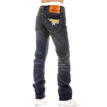 Yoropiko Fujitsuru Vintage Embroidered Washed Japanese Jeans with Frayed Patches YORO3972