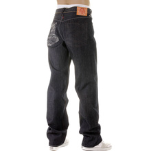 RMC Jeans Dark Indigo Vintage Cut Raw Denim Jeans with Mad Patch Off White and Charcoal Embroidery REDM3133