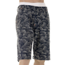 RMC Martin Ksohoh Super Exclusive AO10 Fully Embroidered Off White Tsunami Wave Denim Shorts for Men REDM5219