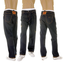 RMC MKWS Exclusive Aged Worn Finish Mens Washed Vintage Cut Denim Jeans with Whiskering and Fading REDM5321