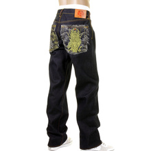 RMC Martin Ksohoh 4 Face god symbols Gold and Silver jeans REDM5638