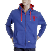 RMC Martin Ksohoh MKWS Regular Fit Hooded Zipped Blue Sweatshirt with Empire Monkey Flock Print REDM2328