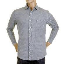RMC Martin Ksohoh MKWS Regular Fit Long Sleeve Soft Penny Collar Navy Checked Shirt for Men REDM2309