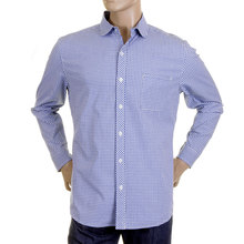 RMC Martin Ksohoh MKWS Regular Fit Long Sleeve Soft Penny Collar Blue Checked Shirt for Men REDM2310