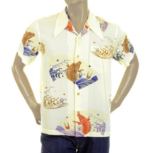 RMC Martin Ksohoh Regular Fit Short Sleeve Yellow Carp in Lake Printed Shirt for Men REDM0910