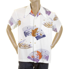 RMC Jeans Mens Regular Fit Short Sleeve Shirt with Pale Blue Carp in Lake Print REDM0913