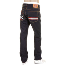 RMC JEANS Model 1001 Silver Skull and Crossbones Raw Denim Slim Fit Jeans in Dark Indigo REDM1157