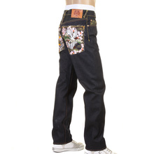 RMC Jeans Dark Indigo Slimmer Cut 1001 Japanese Garden Embroidered Unwashed Dry Raw Denim Jeans REDM0465