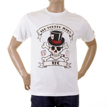 RMC Regular Fit Short Sleeve Crew Neck Smoking Skull and Crossbones Printed T Shirt in White REDM2091
