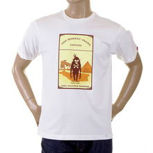 RMC Jeans Regular Fit Short Sleeved White Crewneck T-shirt with Camel Cigarette Packet Print REDM1164