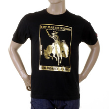 RMC Jeans Black Regular Fit Short Sleeved Crewneck T-Shirt with Gold Foil Cowboy Rodeo Print REDM2089