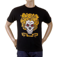RMC Jeans Crew Neck Regular Fit Rock and Roll Skull Printed Short Sleeve T-Shirt in Black REDM2094
