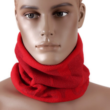 RMC MKWS Mens Reversible Neck Warmer Snood in Red Fleece with Tsunami Wave Design REDM5490A