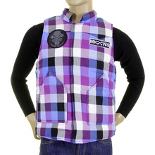 RMC Martin Ksohoh MKWS purple and blue check padded gillet REDM5837