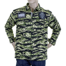 RMC Jeans Regular Fit Green Tiger Camo RQZ1085 Field Jacket for Men with Zip Front Closure REDM2358A