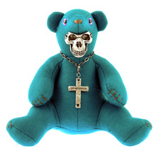 Yoropiko x Unlimitedsifr Limited Edition Teal Blue Teddy With Metal Skull Mask For Toy Collectors REDM0471