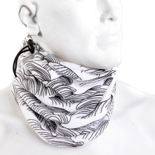 RMC Martin Ksohoh BLKWAVES Black Tsunami Wave Embroidered White Neck Warmer Snood REDM3171