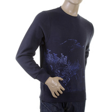 RMC Martin Ksohoh Large Fitting Navy Blue RWC141161 Crew Neck Toyo Story Mountain Printed Sweatshirt REDM0945