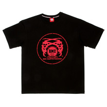 RMC Martin Ksohoh Regular Fit Short Sleeve Crew Neck Black T Shirt with Red Logo Print REDM0099