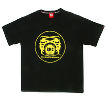 RMC Martin Ksohoh Regular Fit Short Sleeve Crew Neck Black T Shirt with Yellow Logo Print REDM0110