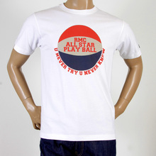 RMC Martin Ksohoh RQT1077 White Regular Fit Short Sleeve Crew Neck Basketball Printed T-shirt for Men REDM0972