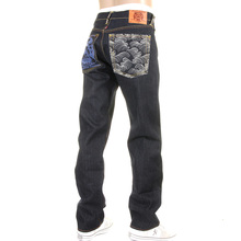 RMC Jeans Original Raw Denim Painted Logo Tsunami Wave Embroidered Jeans in Dark Indigo with Slim Cut REDM1473