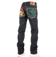 RMC Jeans Dark Indigo Genuine 1001 Model Tsunami Wave Embroidered Painted Logo Slim Cut Raw Denim Jeans REDM1715