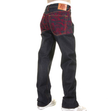 RMC Jeans Rare Original Red Full Back Embroidered Tsunami Wave Vintage Cut Raw Denim Dark Indigo Jeans REDM1774