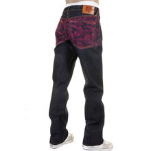 RMC Martin Ksohoh Genuine Vintage Cut Dark Indigo Raw Denim Jeans with Fuchsia Tsunami Wave Embroidery REDM1911