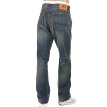 RMC Martin Ksohoh Mens Vintage Light Wash Denim Jeans with Distressed Edges and Oven Baked Crease REDM2284