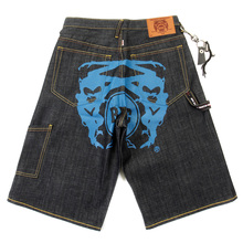 RMC Jeans LOGOA Mens Cargo Denim Shorts with Super Exclusive Blue Painted Logo REDM3733