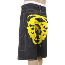 RMC Martin Ksohoh Cargo Short yellow Painted logo denim shorts REDM3735
