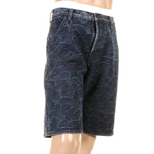 RMC Jeans Genuine Selvedge Denim Shorts with Super Exclusive Dark Blue Tsunami Wave Embroidery REDM3739